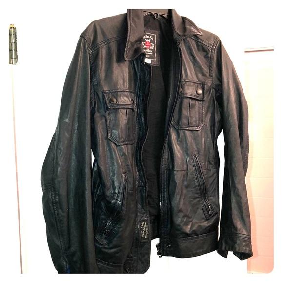 Diesel men's leather jacket with belt